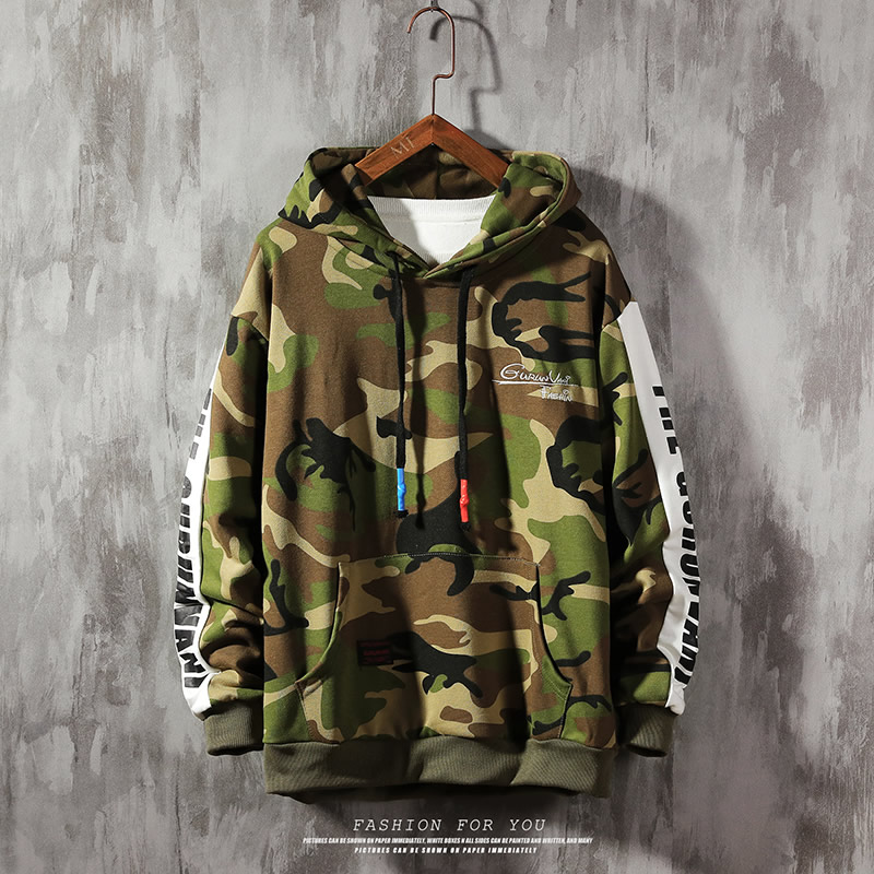 Teens Boys Hoodie,Fashion Camouflage Patchwork Sweatshirt Mens Long Hooded Pullover New