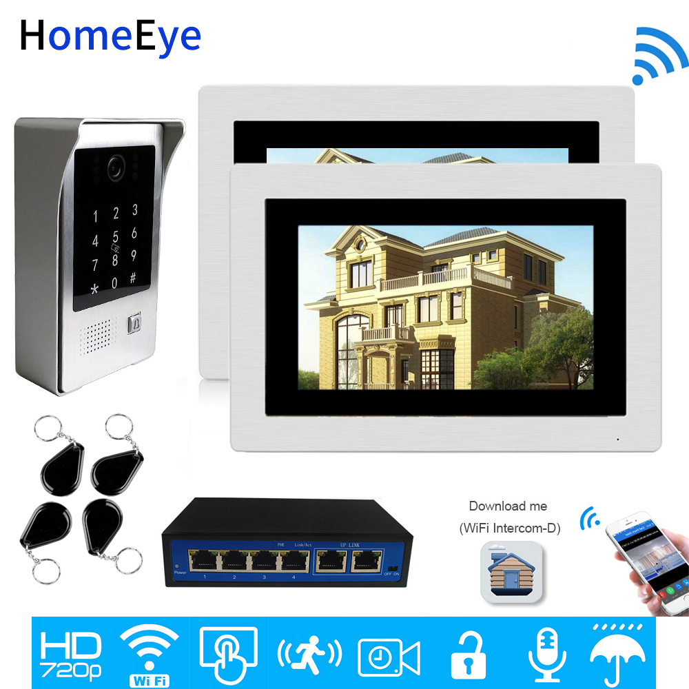 Wifi ip telefone video da porta vídeo porteiro aplicativo móvel controle de acesso remoto multi-idioma osd desbloquear código teclado de segurança ic cartão