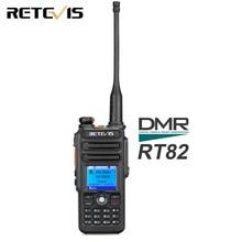 Walkie Talkie Digital DMR Retevis RT82 de doble banda, GPS, 5W, VHF, UHF, DMR, IP67, Ham, transmisor de Radio Amateur resistente al agua + Cable