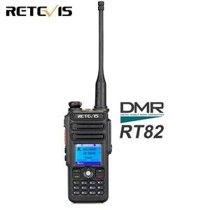 Image 1 - Walkie Talkie Digital DMR Retevis RT82 de doble banda, GPS, 5W, VHF, UHF, DMR, IP67, Ham, transmisor de Radio Amateur resistente al agua + Cable