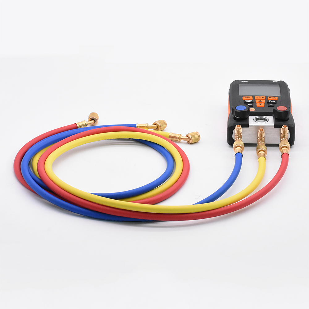 3Pcs/Set 1.5M Refrigeration Charging Hoses For R134a R410a R22 R12 R502 Testo 550 Air Conditioner Tools Manifold Gauge