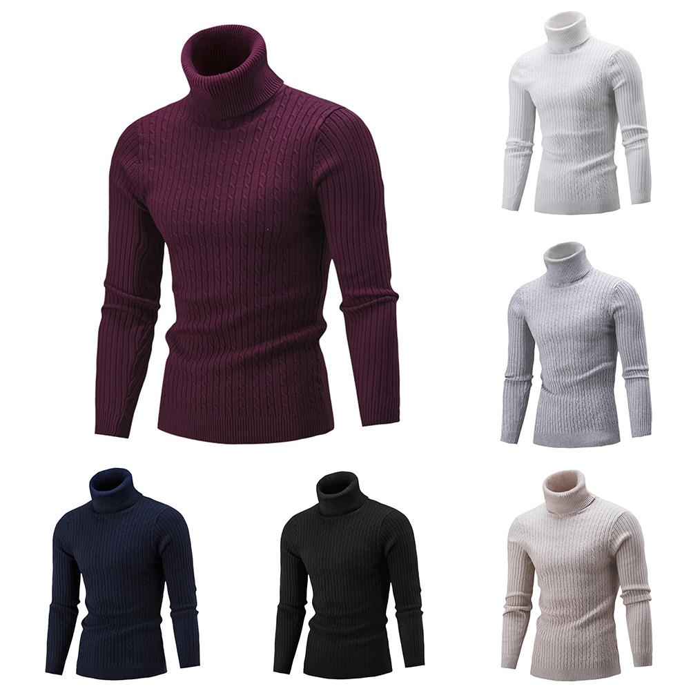 Casual Winter Sweaters For Men Solid Color Turtle Neck Ribbed Twist Sweater Pullovers Turtleneck Male Sweaters Men's Clothing