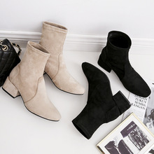 цена на Fall and Winter  New Style Square-Headed Shoes with Slim Medium-heeled Martin Boots with Slim Boots  Ankle Boots For Women