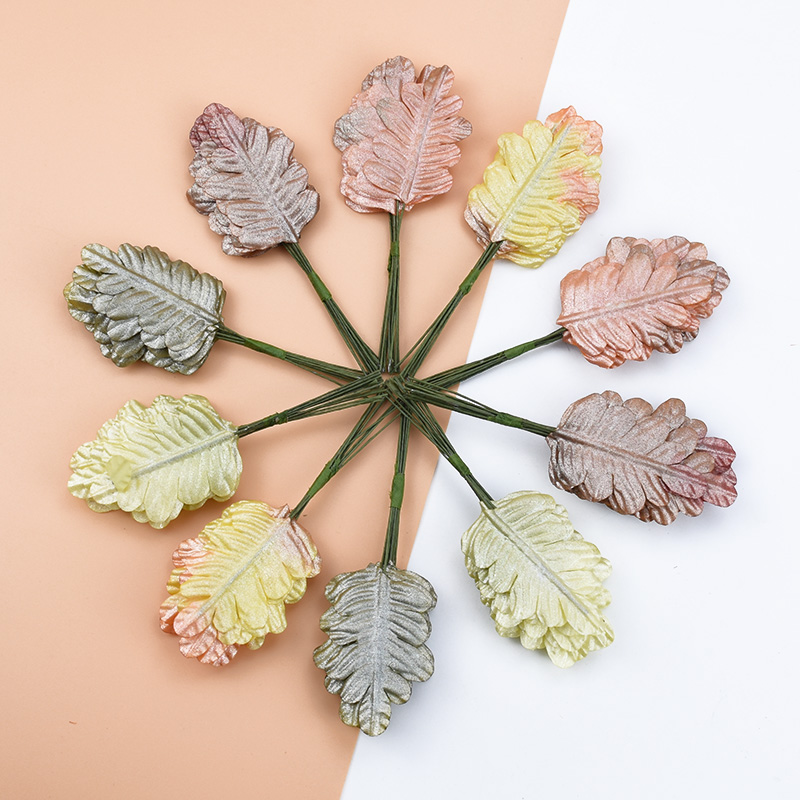 12pcs Christma Decorations For Home Decorative Flowers Wreaths Candy Boxleaf Scrapbooking Flower Wall Artificial Plants Leaves