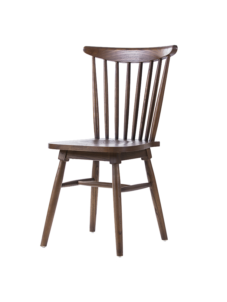 Nordic All Solid Wood Windsor Chair American Simple Backrest Leisure Dining Chair Cafe Restaurant White Oak Colored Chair