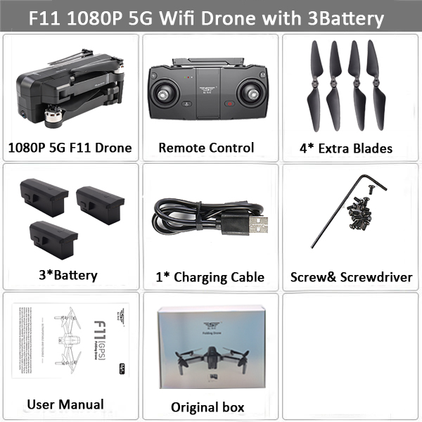 SJRC F11 PRO GPS RC Drone With 1080P 2K HD Camera RC Quadcopter Helicopter Foldable Drones 5G WiFi FPV Gesture Control Brushless