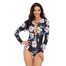 One-Piece Swimsuit Monokini Swim-Wear Long-Sleeve Surfing Floral Female Beach Print Women