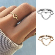 Mulheres Anéis Nos Dedos Oco Coração Melhores Amigos Anéis de Promessa Anéis Para As Mulheres Meninas Tamanho 5-10 Você Pode Usar Todos Os Dias de Ouro Simples