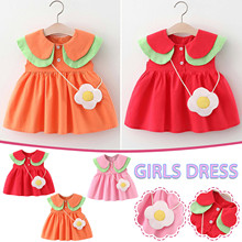 Hot 2021 nowe letnie dziewczynek sukienka maluch dziecko dziewczynka sukienka w jednolitym kolorze + mała tornister niemowlę dzieci dziewczyna odzież tanie tanio Dziewczyny POLIESTER MATERNITY W wieku 0-6m 7-12m 13-24m 25-36m CN (pochodzenie) Lato Do kolan Kwadratowy kołnierz REGULAR