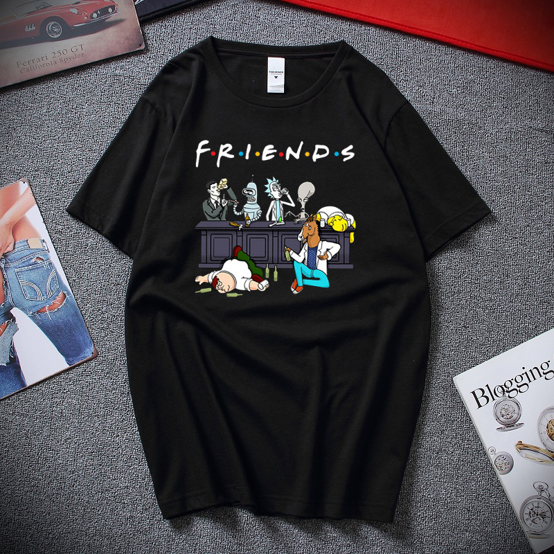 Rick And Morty Friends Classic Novel Design T-Shirt Unisex Funny T Shirts Top Summer Streetwear Cotton Short Sleeve Tee Shirt