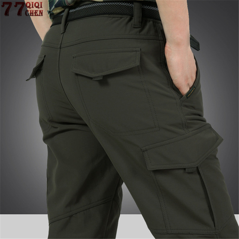 Men's Cargo Stretch Pants Winter Thick Warm Soft Shell Fleece Loose Trousers Shark Skin Army Military Tactical Waterproof Pants