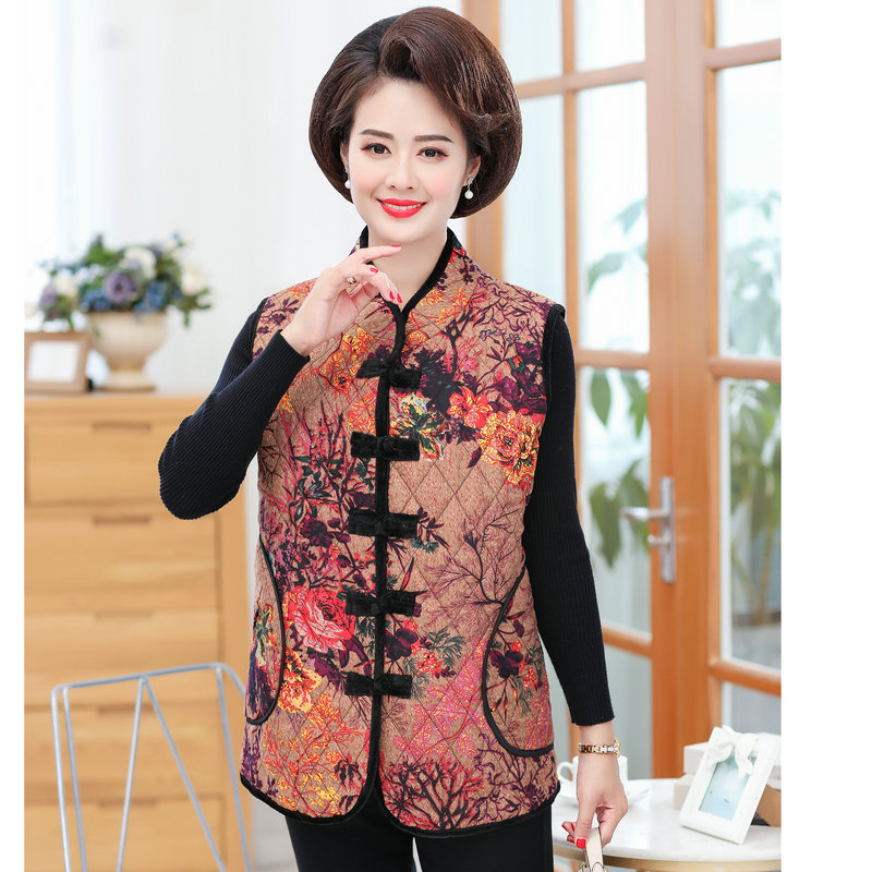 Oriental Button Design Quilted Vests Women Ethnic Pattern Warm Thick Padded Waistcoat Female Vintage Puff Herringbone Gilet Wear in Vests amp Waistcoats from Women 39 s Clothing