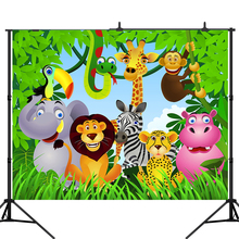 Lyavshi Jungle Safari Party Photo Backdrop Animals Forest Photography Background Birthday party Theme Party Decoration allenjoy background photography wildlife jungle animal forest safari party boy kids birthday round backdrop cover photocall