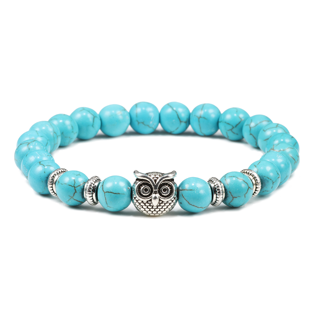 Handmade Yoga Owl Natural Stone Beaded Strand Charm Bracelets Men Women Jewelry Bracelet Bangles Buddha Best Gift Pulsera Hombre