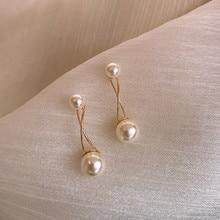 2019 New Arrival Metal Trendy Geometric Women Dangle Earrings Elegant  Retro Pearl Fashion Earrings Female Simple Jewelry new arrival hollow shell pearl retro earrings female simulated pearl trendy geometric women dangle earrings