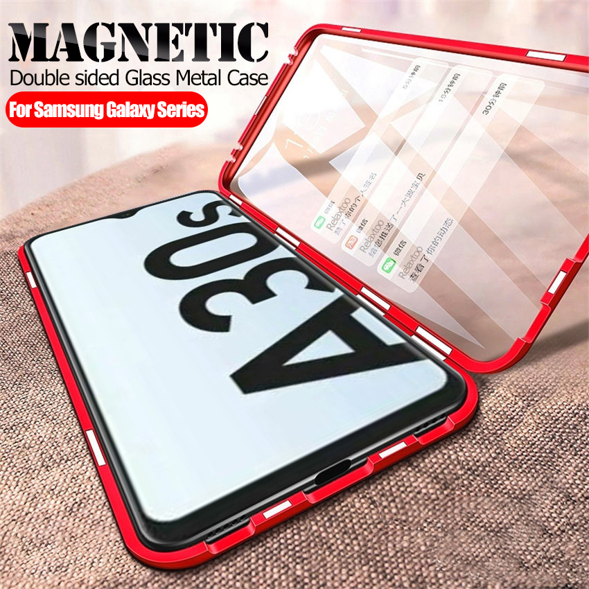 Magnetic phone <font><b>case</b></font> For <font><b>samsung</b></font> a30s A50 a70 a30 a20 s a50s a20s a10s Double sided tempered <font><b>Glass</b></font> Metal Adsorption Fundas coque image