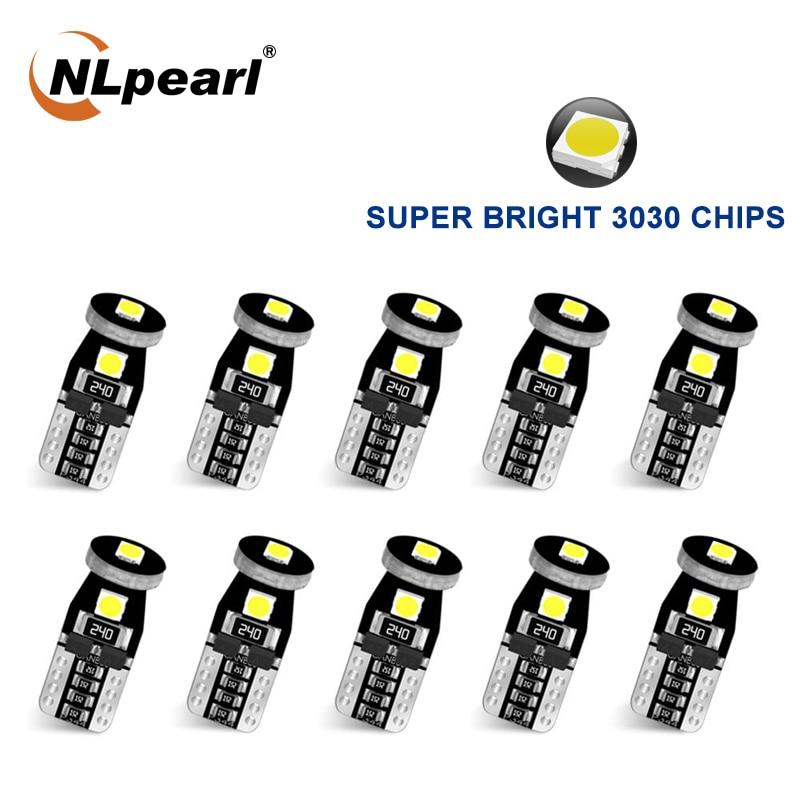 Сигнальная лампа NLpearl 10x, светодиодные лампы Canbus T10 3030SMD W5W Led 168 194, освещение салона автомобиля, освещение для Чтения номерного знака, белый, си...