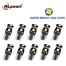 NLpearl 10x Signal Lamp T10 Led Canbus Bulbs 3030SMD W5W Led 168 194 Car Interior Lights Reading License Plate Light White Blue 2 pcs w5w t10 12 smd 3030 super bright car led bulbs signal license plate lamps 194 168 interior lights canbus no error 7 colors