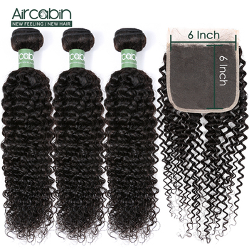 Aircabin Kinky Curly Bundles With 6x6 Closure Brazilian Human Hair Wave Weave Bundles With Closure Remy Bundle With Closure aircabin hair body wave bundles with closure remy human hair extensions brazilian body weave bundles and lace closure