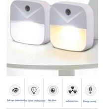Tomada de luz noturna com sensor, economia de energia, iluminação para crianças, sala de estar, quarto, cofre, lâmpada de parede branca, quente