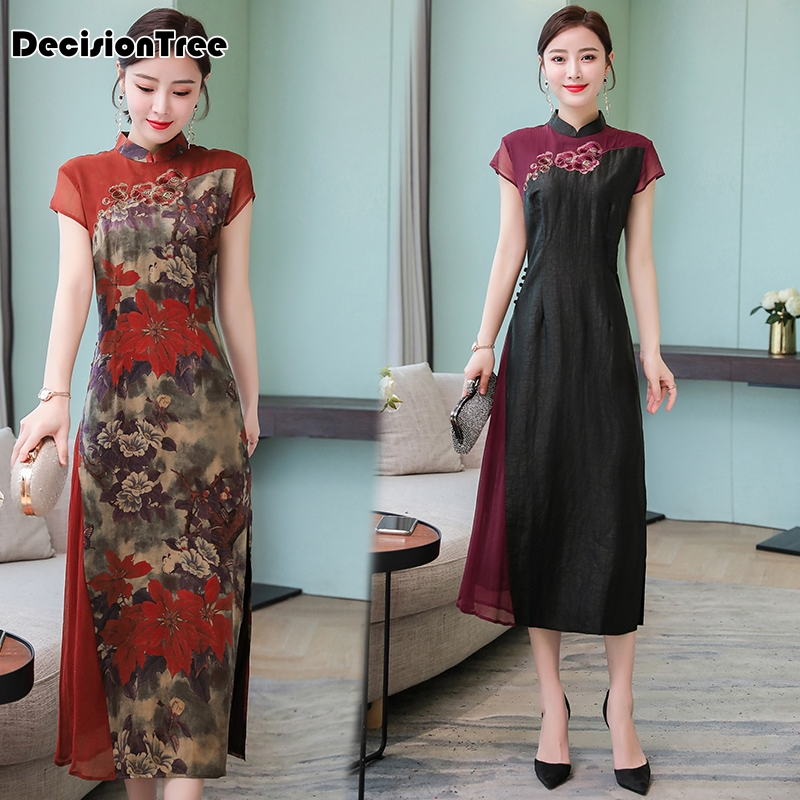 2019 Cheongsam Ao Dai Vietnam Ao Dai Dress Vintage Asian Dress Aodai Vietnam Clothing Qipao Floral Print Vintage Casual Retro