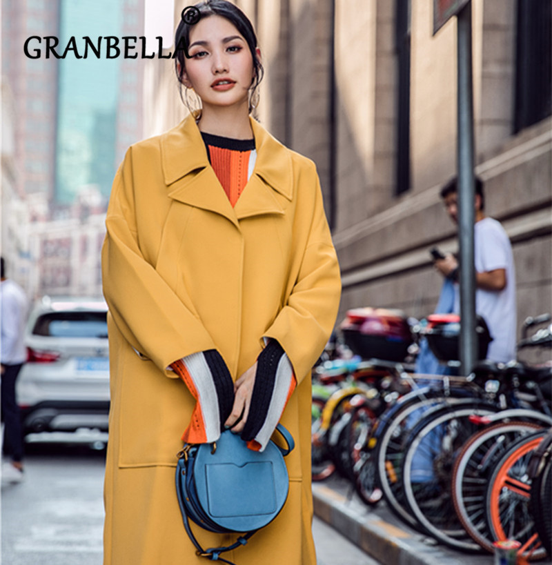 2019 Fashion Hot Solid Color Long Sleeve   Trench   Coat Casual Elegant Loose Warm Outerwear Single Breasted