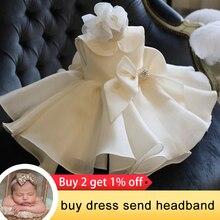2021 белое платье для новорожденных на 1-й день рождения, одежда для маленьких девочек, платье принцессы с цветами вечерние платья для вечерин...