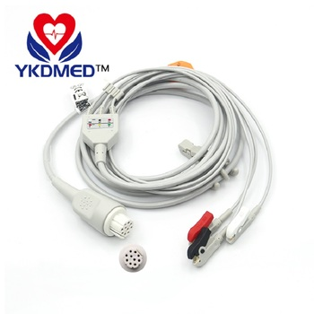 3PCS/Datex 10pin one-piece 3-lead ECG cable with AHA CLIP for patient monitor,medical TPU,CE&ISO13485,free shipping