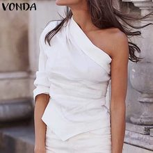 VONDA Autumn Spring Solid Color Tops One Shoulder Maternity Shirts Sexy Tops Womens Clothing Slim Fit Female Blusa feminina