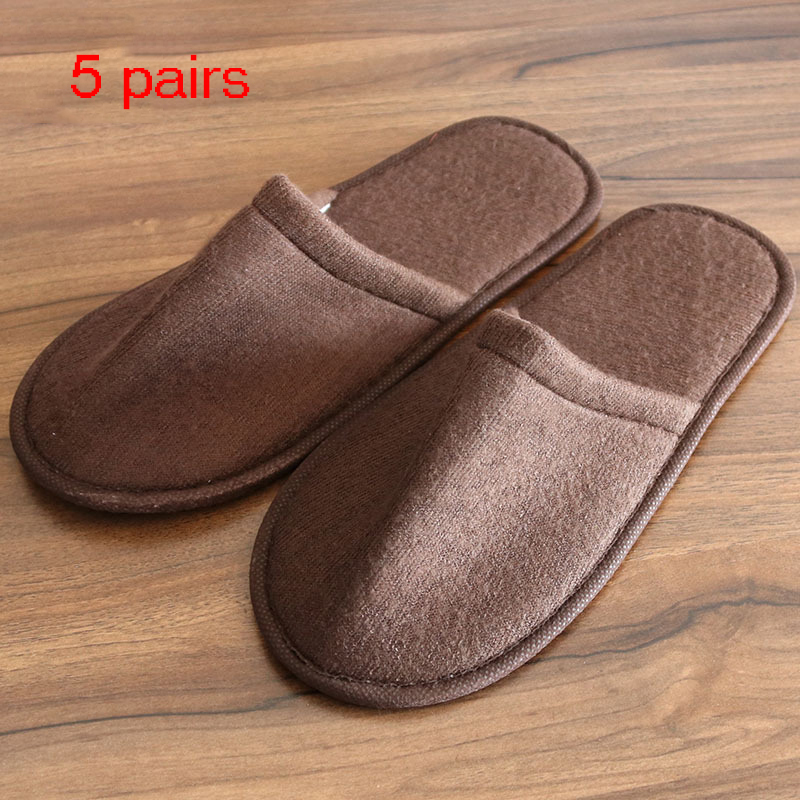 5 Pair Kids And Adult Hotel Travel Spa Disposable Slippers Home Guest Slippers White Shoes Disposable Slippers