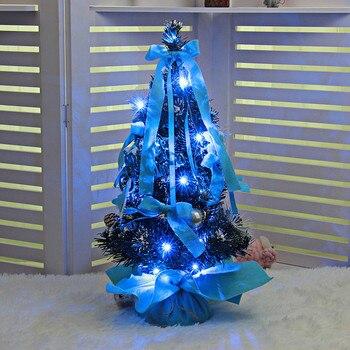 New Year Christmas LED Artificial Tabletop Mini Tree Decorations Festival Miniature PresenBlue Purple Best Gift