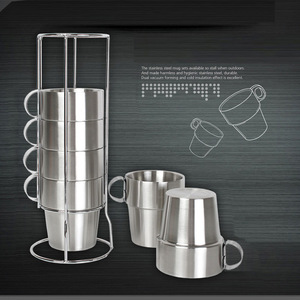 Image 3 - Outdoor Non magnetic 6 piece Cup Stainless Steel Double Cup Picnic Insulation Anti scald Coffee Cup Beer Mug Outdoor Camping