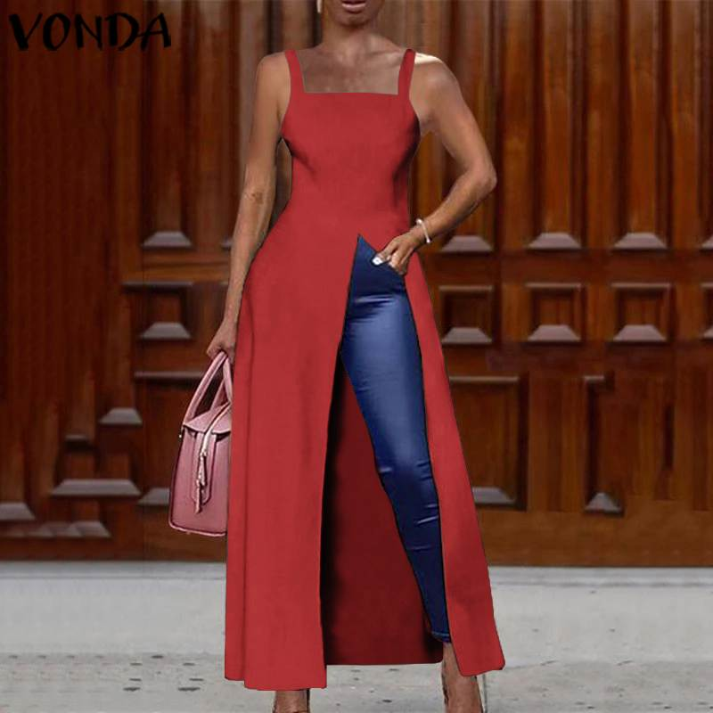 VONDA 2020 Split Hem Blouses And Tops Women Ladies Sexy Sleeveless Long Shirts Casual Solid Color Robes Femmes Bohemian Blusas