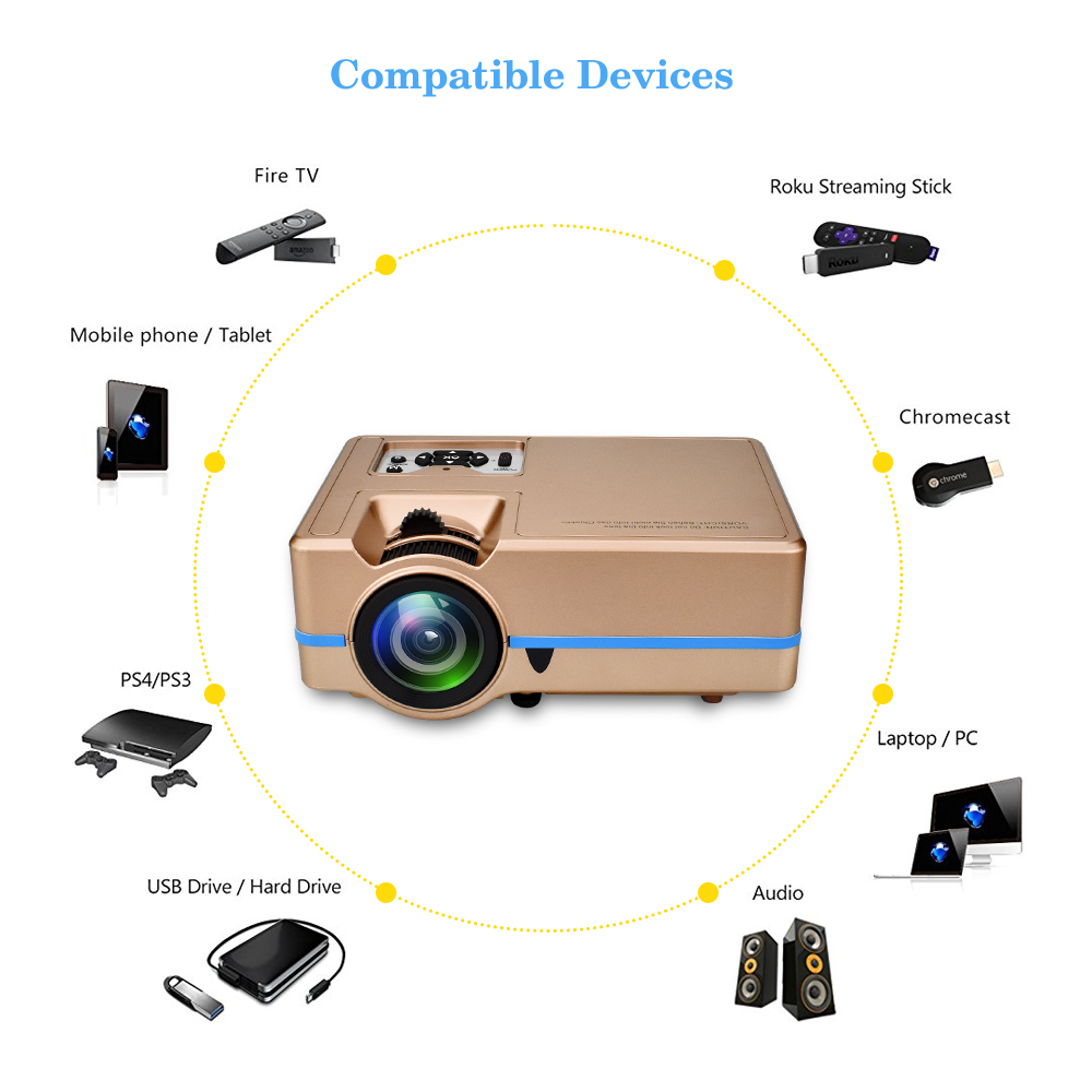 Mini Projector VS 313 Home Theater Projectors Portable Zoom Led Full HD Projector 2000 Lumes Colorful Support 4K HDMI/USB/VGA - 3