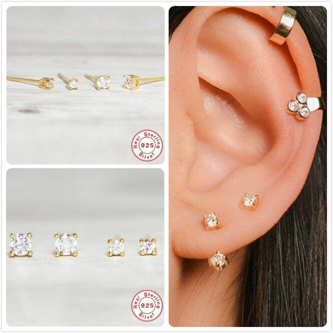 Real 925 Silver Earrings For Women Small Zircon Stone Earrings Girl Gift Cartilage Ear Piercing Earrings Female Stud Aretes R5