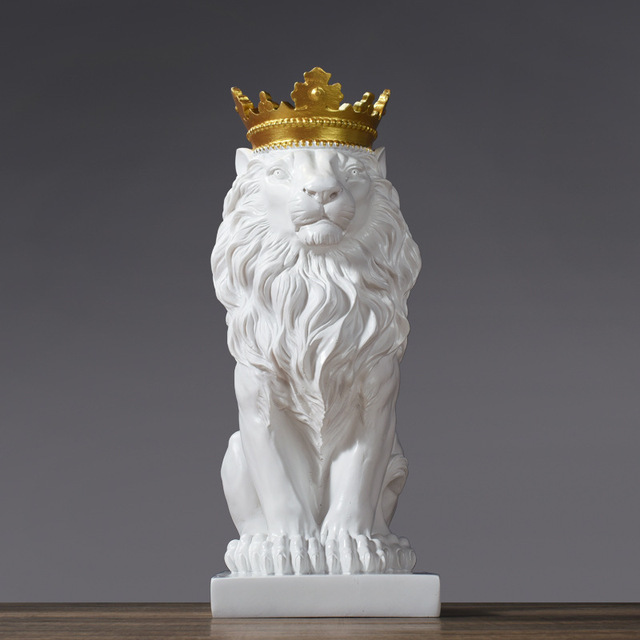 VILEAD Golden Crown Lion King Statue Nordic Handicraft Home Office Decoration Lion King Modle Animals Art Sculpture 2