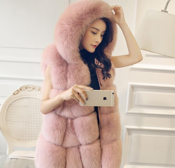 Un nuevo tipo de ropa de mujer de largo y mediano de comercio exterior con costura de piel y abrigo de pelo de zorro en 2019 - 5
