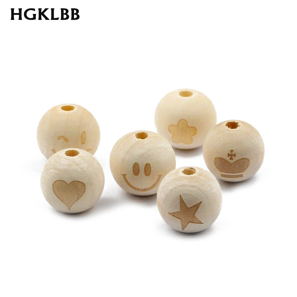 Smile Face Engraved Natural Wood Teething Beads Unfinished Bead DIY Baby Jewelry