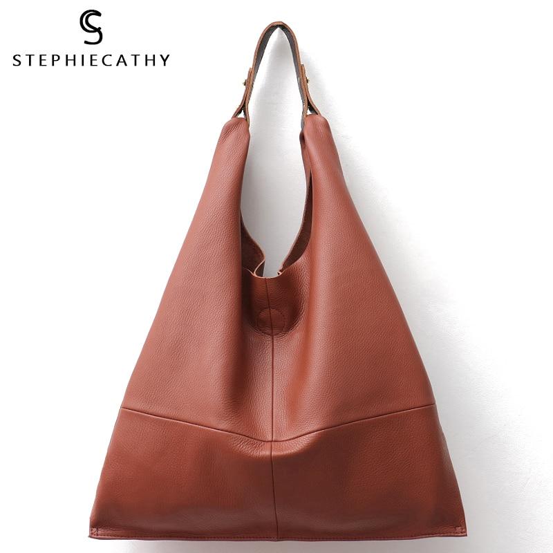 SC Casual Women Hobo Bag Soft Genuine Cow Leather Fashion Shoulder Bags Female Large Tote Bucket Shopping Handbag&Liner Bag