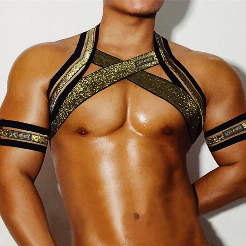 Mens Chest Harness Shoulder Straps Muscle Elastic Belt Arnes Hombre Bandage Lingerie With Arm Band Fancy Club Party Costume