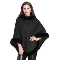 SWYIVY Women's Cloak Shawl Fox Fur Collar Pullover Autumn And Winter Warm Knit Sweater Fashion Casual Cloak Shawl Poncho Female