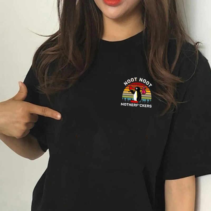 ผู้หญิง Likee Noot Noot motherfuckers Noot Pingu Meme สีดำเสื้อยืดหญิงคุณภาพสูง Likee TEE เสื้อ