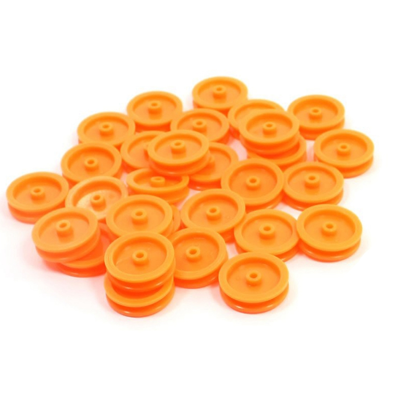 Hot-30 Pcs 2mm Hole Orange Plastic Belt <font><b>Pulley</b></font> for DIY RC Toy <font><b>Car</b></font> Airplane image