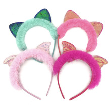 Cute Girls New Plush Sequin Hairband  Headband Elegant Women Headwear Cat Ear Hair Hoop Bezel for Accessories