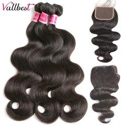 Vallbest cheveux brésiliens corps vague paquets avec fermeture 4x4 Extension de cheveux humains 3 paquets avec fermeture 100 g/Pcs armure faisceaux