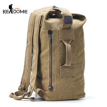 Men Military Backpack Tactical Bag Travel Climbing Handbag Army Bags Canvas Foldable Bucket Cylinder Shoulder Pack Sports XA129D 1