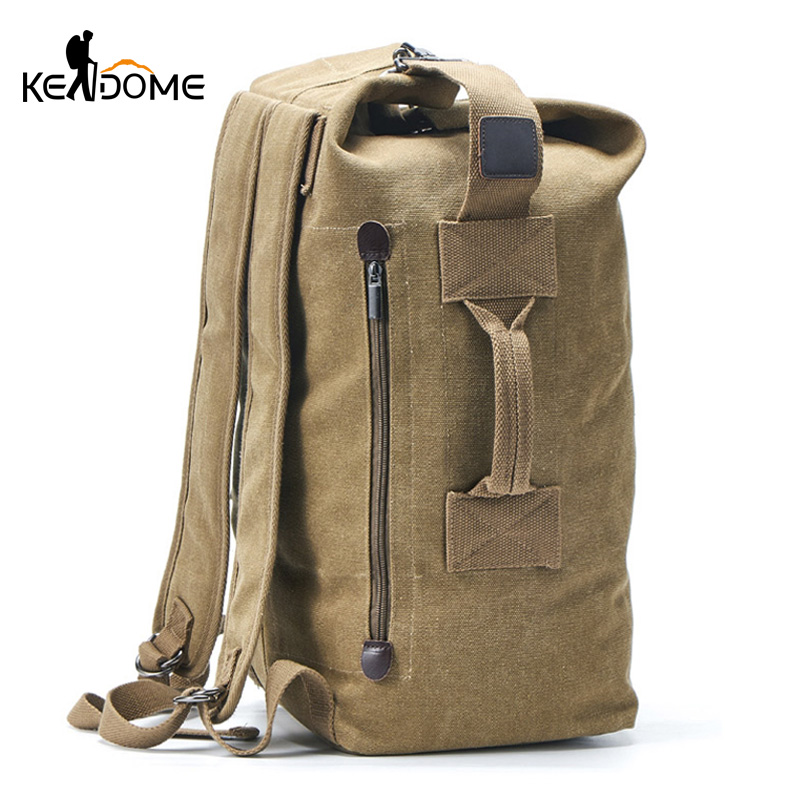 Men Military Backpack Tactical Bag Travel Climbing Handbag Army Bags Canvas Foldable Bucket Cylinder Shoulder Pack Sports XA129D