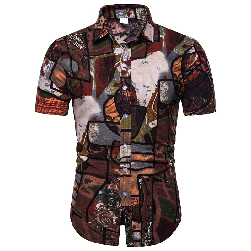 2019  AliExpress Spring And Autumn New Products MEN'S Short Sleeve Shirt Printed Shirt Set