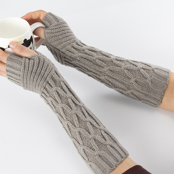 Sparsil Women Fingerless Mittens Stripe Twist Solid Color Warm Knitted Long Glove Autumn Winter Arm Sleeves Wrist Protector 30cm - discount item  15% OFF Gloves & Mittens