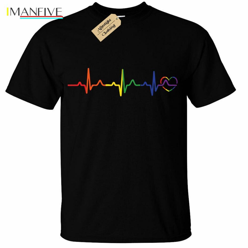 Rainbow Heartbeat T-Shirt Mens Lgbtq+ Gay Pride Heart Lesbian Trans Bi Queer T-Shirts Fashion 2019 Casual Slim T Shirts